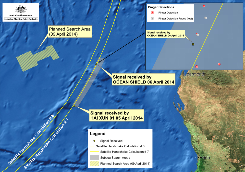 This map provided by the Joint Agency Coordination Centre on Wednesday shows the locations of signals detected by vessels looking for signs of the missing Malaysia Airlines Flight 370 in the southern Indian Ocean.