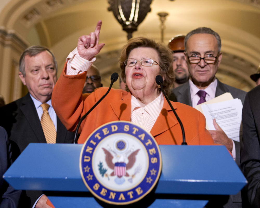 Sen. Barbara Mikulski, D-Md., speaks on Capitol Hill in Washington in 2013. On Thursday, Mikulski said supporters of a bill to curb paycheck discrimination against women were disappointed that Republicans had derailed it, but that they would fight on.