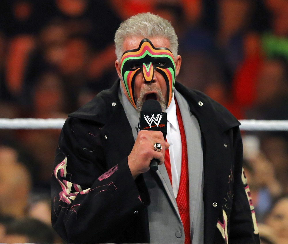 Death of a legend: James Hellwig, better known as The Ultimate Warrior, addresses the audience during WWE Monday Night Raw at the Smoothie King Center in New Orleans. The WWE said Hellwig, one of pro wrestling's biggest stars in the late 1980s, died Tuesday. He was 54.