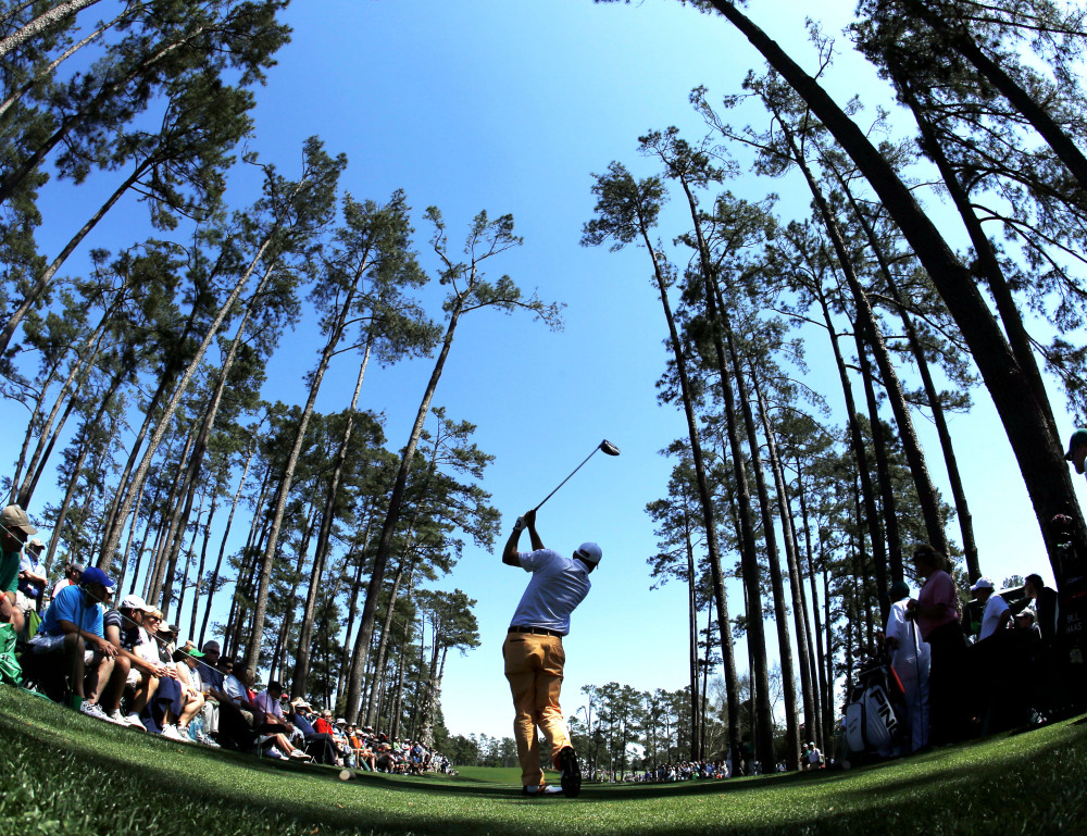 NICE VIEW: Bill Haas tees off on the 17th hole during the first round of the Masters on Thursday in Augusta, Ga.