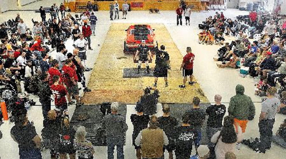 Strongman competitors take on a variety of challenges, such as deadlifting a vehicle. The annual event is today at the Augusta Armory.