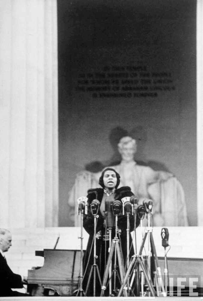 Life magaine photo Marian Anderson concert at the Lincoln Memorial in 1939, which was 73 years ago today, came about because she was denied the right to sing at Constitution Hall.