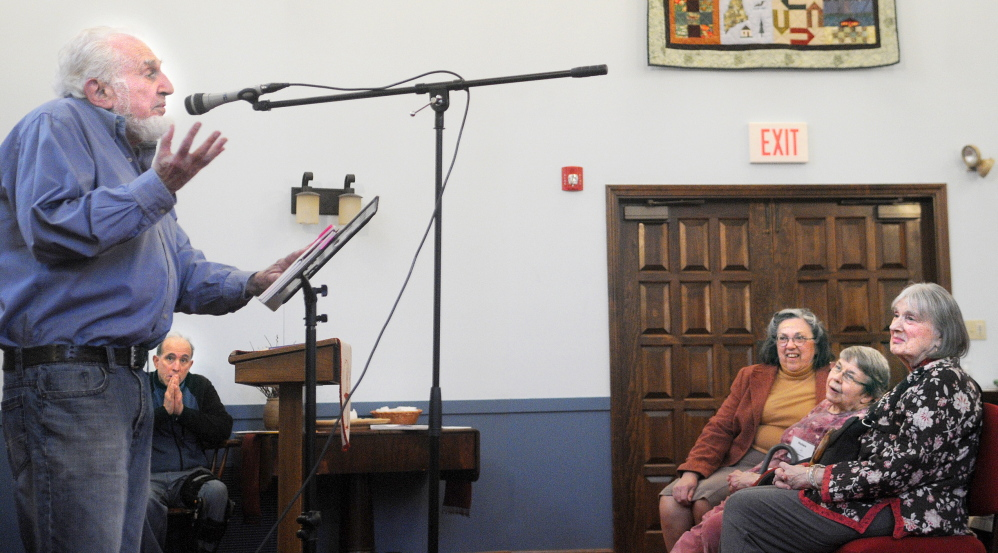 BEET POETS: Ted Bookey recites a poem Sunday at the Unitarian Universalist Church in Augusta. Bookey and members of the Beet Poets of Wayne performed.