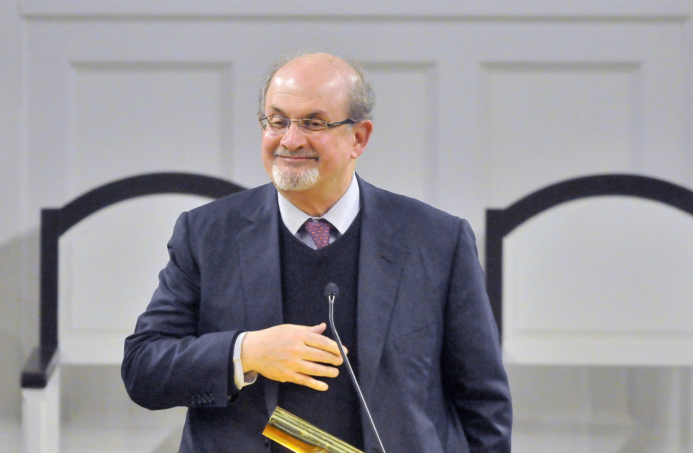 Best selling author and essayist Salman Rushdie spoke to 650 people at the Lorimer Chapel at Colby College in Waterville on Thursday.