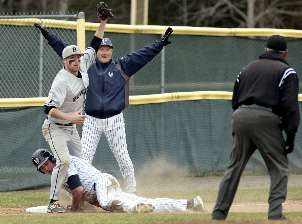 Bowdoin third baseman Sam Canales shows the ball and hopes for an out call. USM Coach Ed Flaherty says safe. The umpire? His decision was out as Chris Bernard attempted to stretch a double to a triple Friday. USM extended its winning streak to eight with a 5-3 victory.