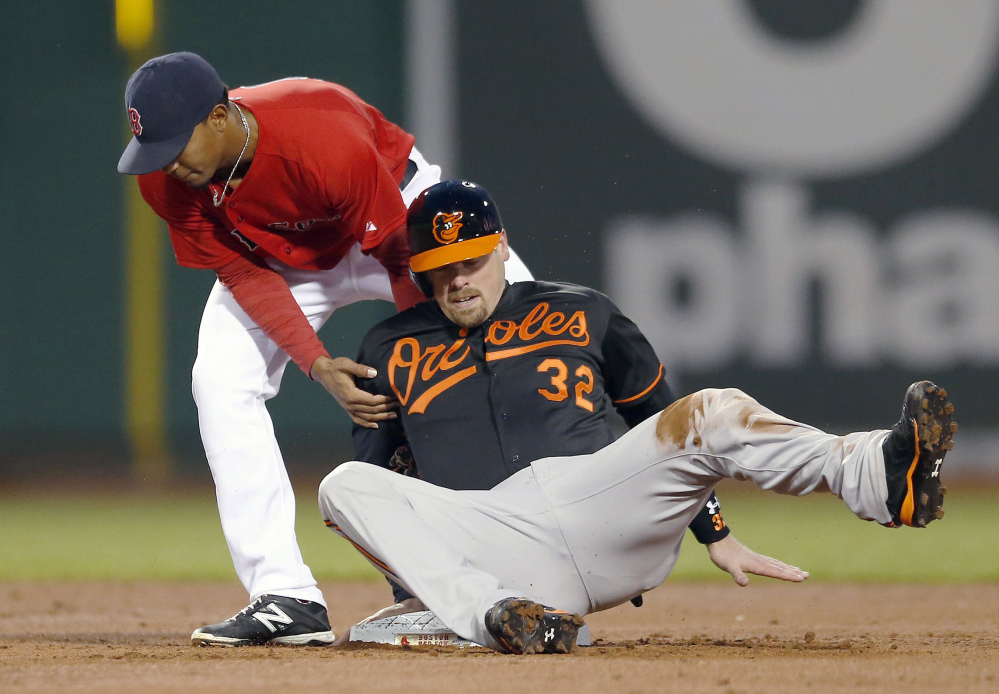 Boston Red Sox's Xander Bogaerts (2) puts the tag on Baltimore Orioles' Matt Wieters, who was out trying to steal second base in the second inning of a baseball game in Boston, Friday, April 18, 2014.