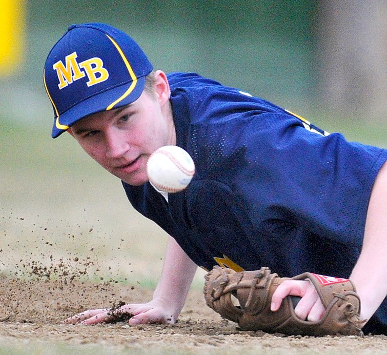 Staff photo by Andy Molloy Mt. Blue first basemen Moses Clark blocks a ball Wednesday during a baseball match up against Cony in Augusta.