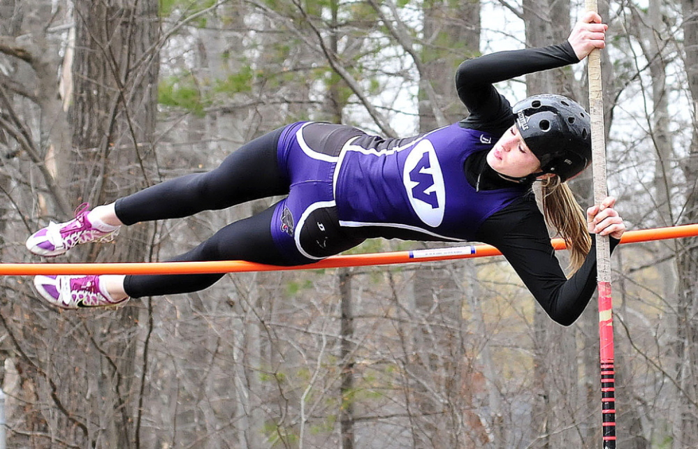 Staff photo by David Leaming Waterville's Sarah Shoulta competes in the pole vault event during track meet in Waterville on Thursday, April 24, 2014.