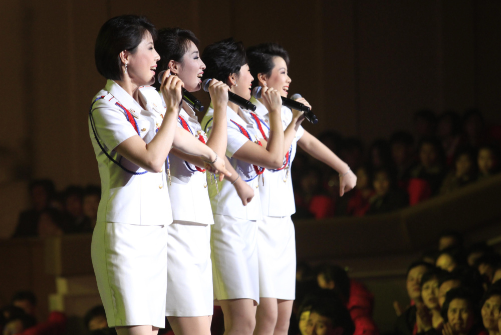 Singers of the Moranbong Band perform in Pyongyang, North Korea, in this March 28, 2014, photo.
