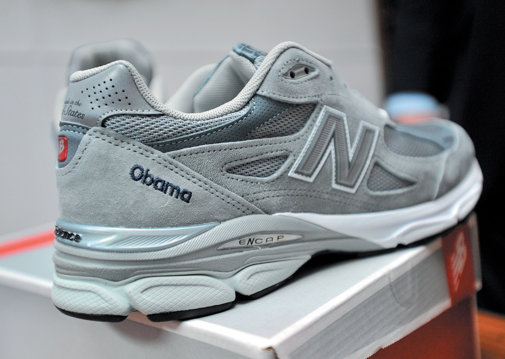 PRESIDENTIAL FOOTWEAR: The pair of New Balance running shoes custom made for President Barack Obama at the New Balance shoe factory in Norridgewock in March 2012.