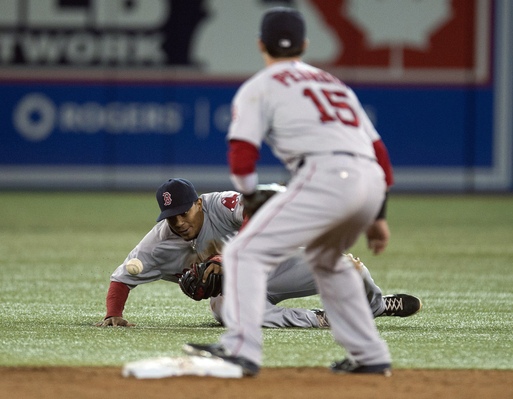 Red Sox shortstop Xander Bogaerts tries to field a ground ball on an infield single from Blue Jays outfielder Jose Bautista as Dustin Pedroia anticipates a play at second base Sunday in Toronto.