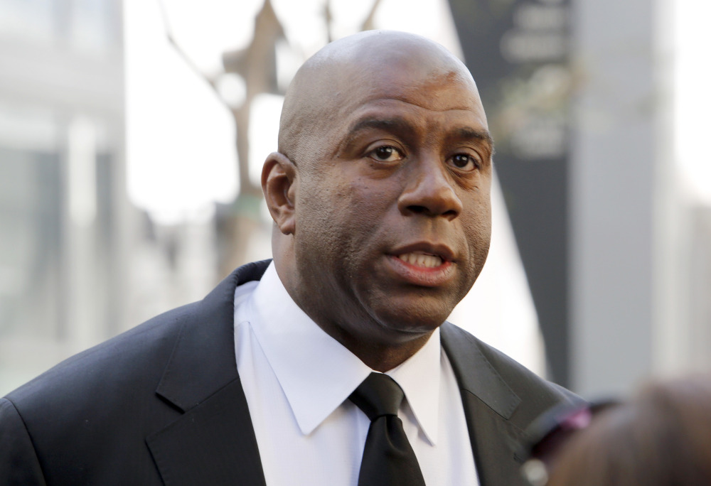 "Los Angeles Lakers player Earvin ""Magic"" Johnson is calling upon NBA Commissioner Adam Silver to ""come down hard"" on Los Angeles Clippers owner Donald Sterling."