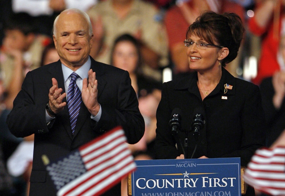 Then-Gov. Sarah Palin of Alaska basks in the spotlight after being introduced as the Republican vice presidential candidate by presidential nominee Sen. John McCain.