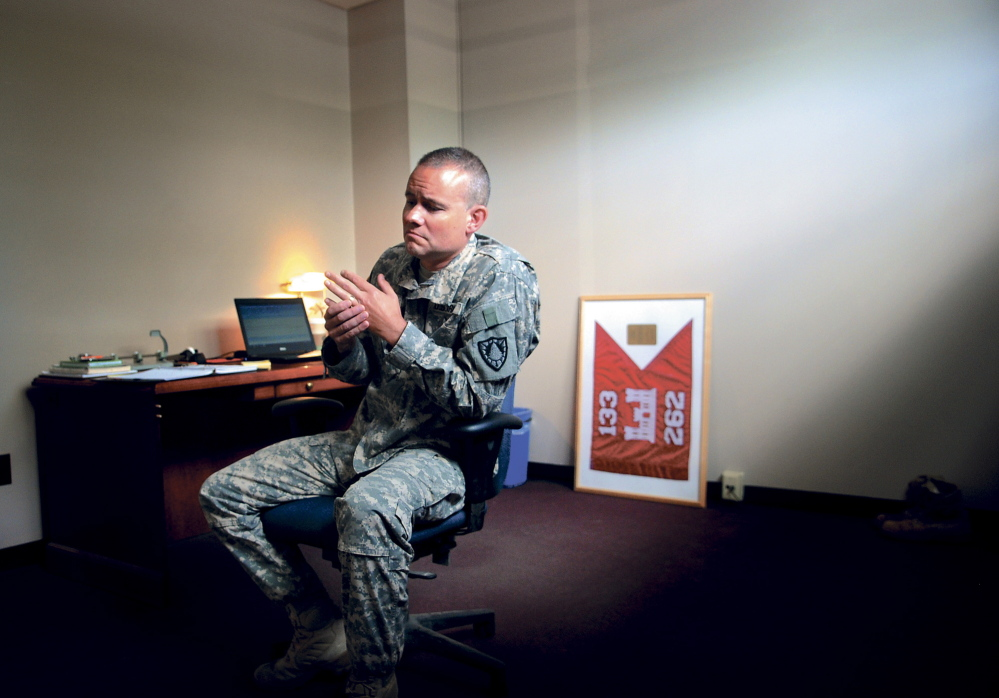 COMMAND: Maine Army National Guard Maj. Scott Lewis is a member of the 133rd Engineer Battalion, which had its headquarters in Gardiner. Shown here in August, the Monmouth resident is in Afghanistan supervising hundreds of men and women during a yearlong deployment.