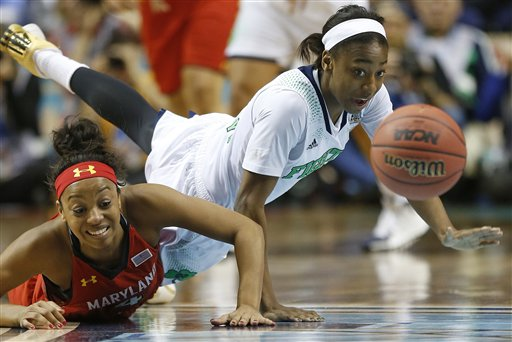 Notre Dame guard Jewell Loyd, right, and Maryland guard Lexie Brown vie for a loose ball during the first half of the championship game in the Final Four of the NCAA women's college basketball tournament Sunday in Nashville.
