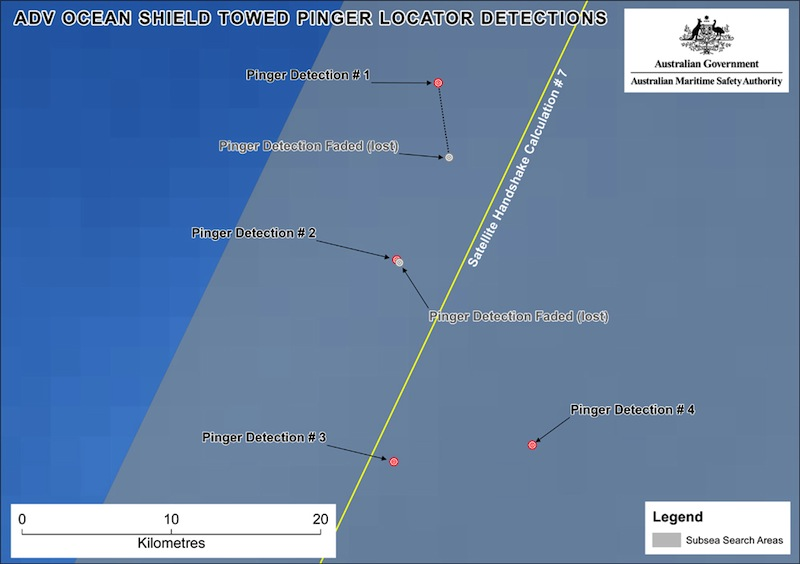 This image provided by the Joint Agency Coordination Centre on Wednesday, April 9, 2014, shows a map indicating the locations of signals detected by vessels looking for signs of the missing Malaysia Airlines Flight 370 in the southern Indian Ocean. An Australian official overseeing the search for the missing Malaysia Airlines plane said underwater sounds picked up by equipment on an Australian navy ship are consistent with transmissions from black box recorders on a plane.