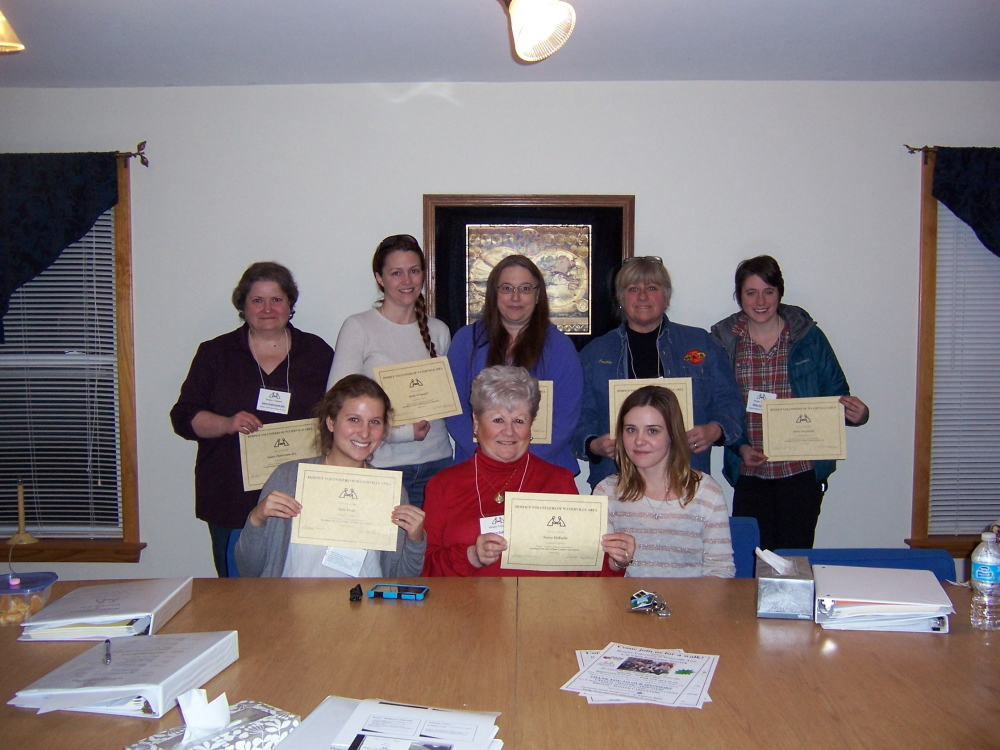2014 Spring Direct Care Volunteers: In front, from left, are Sara Lezin, Nancy DeRoche and Bridget Ryan, volunteer coordinator. In back, from left, are Laura Chakravarty Box, Shelley O'Connell, Barbara Doone, Jackie Reny and Owens Strawinski. Missing from photo is Dina Burke.