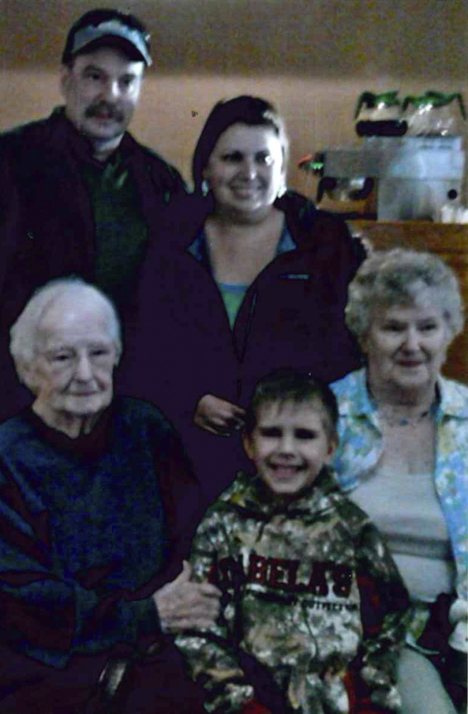 FAMILY PHOTO: A surprised birthday party was given to Ervina (Vina) Goodridge, of Norridgewock at Ken's Family Restaurant by her children. Goodridge turned 96 on April 10. A five generation photo was taken. In front, from left, are Ervina Goodridge, of Norridgewock; Brady Ducharme, of Skowhegan; Betty Libby, of Norridgewock, Arthur Libby, of Fairfield Center. In back, from left, are Arthur Libby, of Noridgewock; and Andrea Ducharme, of Skowhegan.