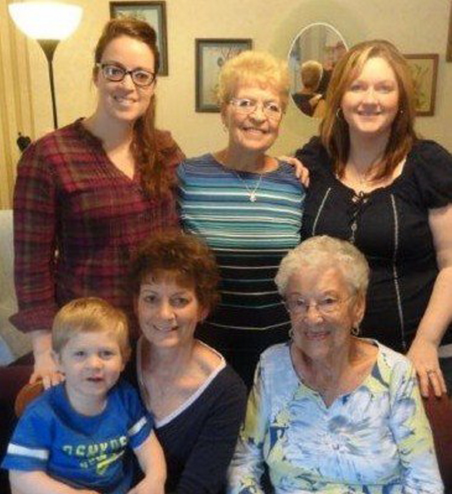 Contributed photo Family photo: In front, from left, are Blake Tibbetts, 2, of Belgrade; Suzie Laney, of Mount Vernon; Irene Dumont, 95, of Skowhegan. In back, from left, are Amanda Laney, of Augusta; Elaine Folsom, of North Fort Meyers, Fla.; and Alyssa Tibbetts, of Belgrade.