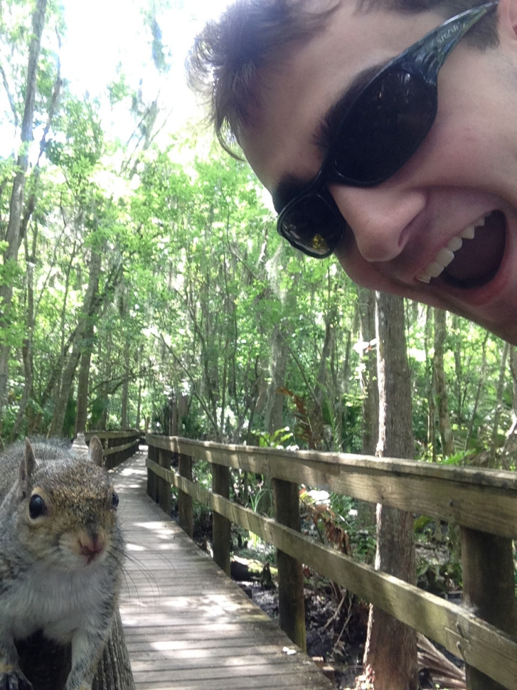 "A squirrel approaches Brian Genest of Auburn as he takes a photo of himself at John Chestnut Park near Tampa, Fla., on Saturday. Genest, 17, said his camera phone scared the animal, which climbed under his shirt and hung onto his back. ""He was just in that spot where my arm can't reach him,"" Genest said. ""I threw myself on the ground and that scared him off."""