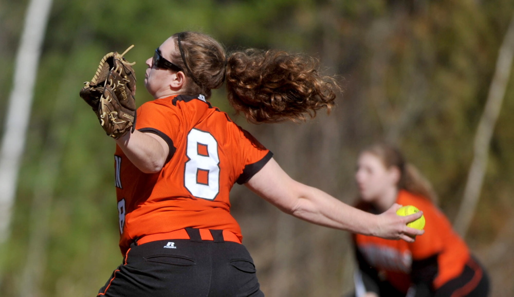 Staff photo by Michael G. Seamans Kaitlyn Theriault, 8, pitched a no-hitter against Messalonskee High School in Oakland on Friday. Skowhegan defeated Messalonskee 3-0.