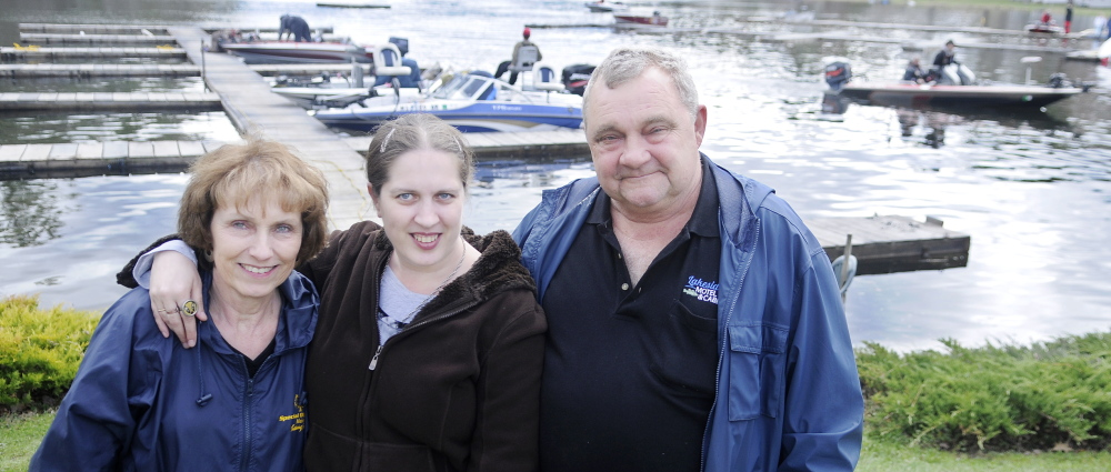 Special cause: Andy and Sheree Wess hosted on Sunday the 25th annual Special Olympics Bass Tourney on Cobbossee Lake at their business, Lakeside Motel, Cabins and Marina in Winthrop, to raise funds for the group that helped their daughter, Carrie, center.