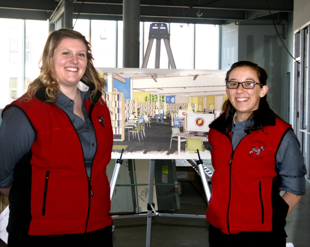 At Thomas: Thomas College students Taylor Arey, left, and Krystal Peatfield.