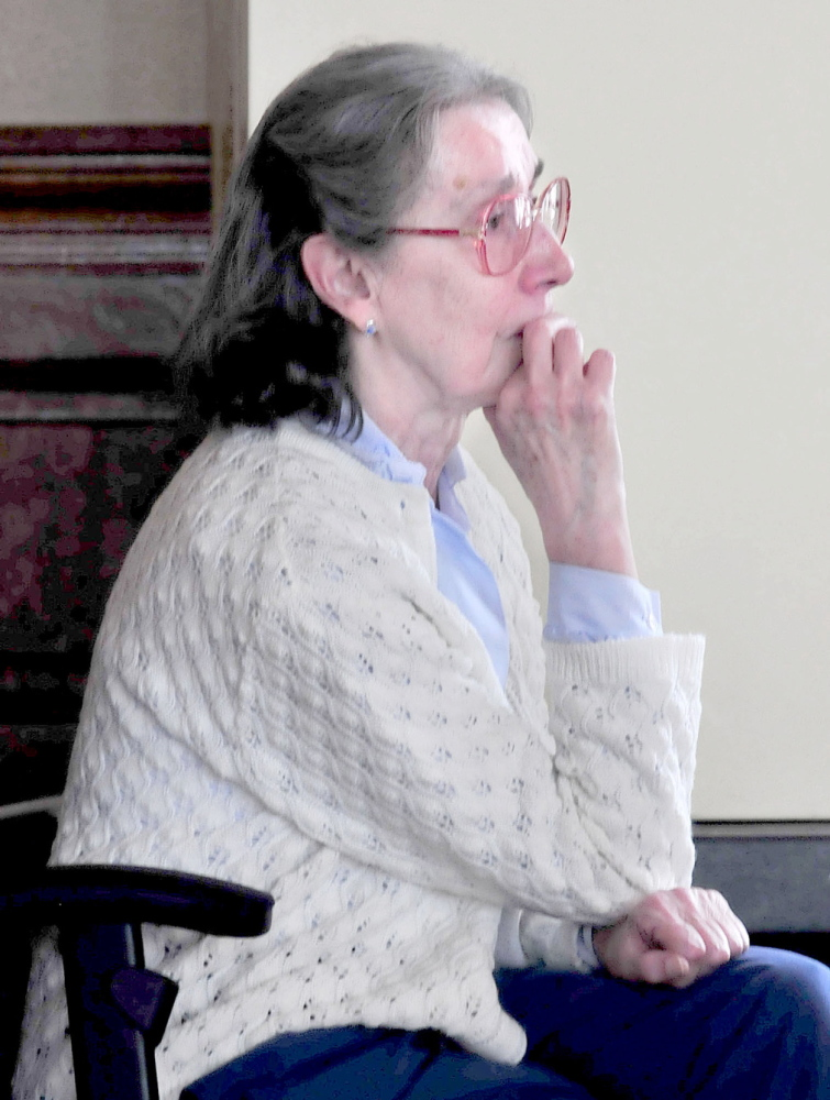 EMOTIONAL TRIBUTE: Former chorus member Beverly Dunst became emotional while listening to the UMF Community Chorus sing and pianist Patricia Hayden play during a tribute in memory of Joel Babcock Hayden Jr. on Sunday.