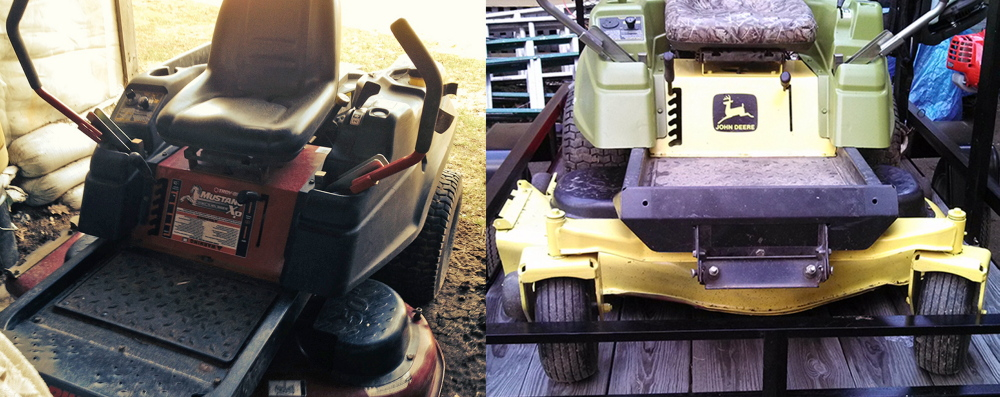 "Tractor Trick: Police allege that Troy Eafrati bought a Toro riding lawn mower, left, using a fake check and later painted it ""John Deere green"" to disguise its appearance, at right."
