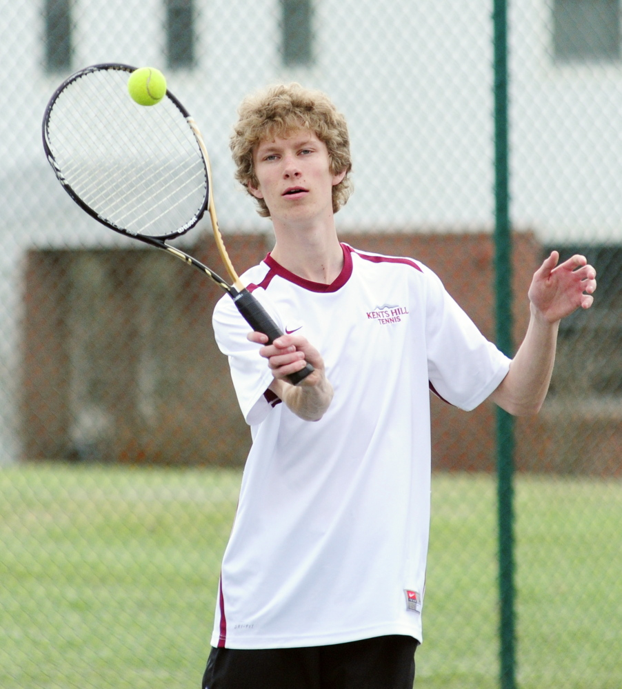 READFIELD, ME - MAY 1: Robert Patenaude, of Augusta, returns a shot during tennis practice on Thursday May 1, 2014 at Kents Hill School in Readfield. (Photo by Joe Phelan/Staff Photographer)
