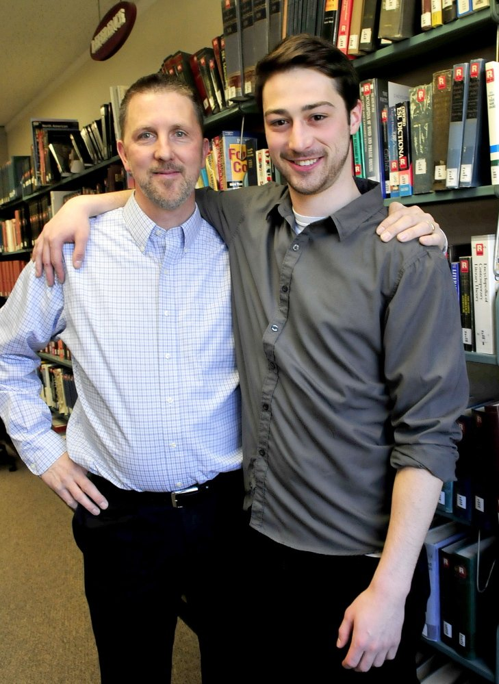 COLLEGE BUDDIES: Randy Hoyt, left, of Wilton, and his son Jordan will graduate from Thomas College in Waterville on Saturday.