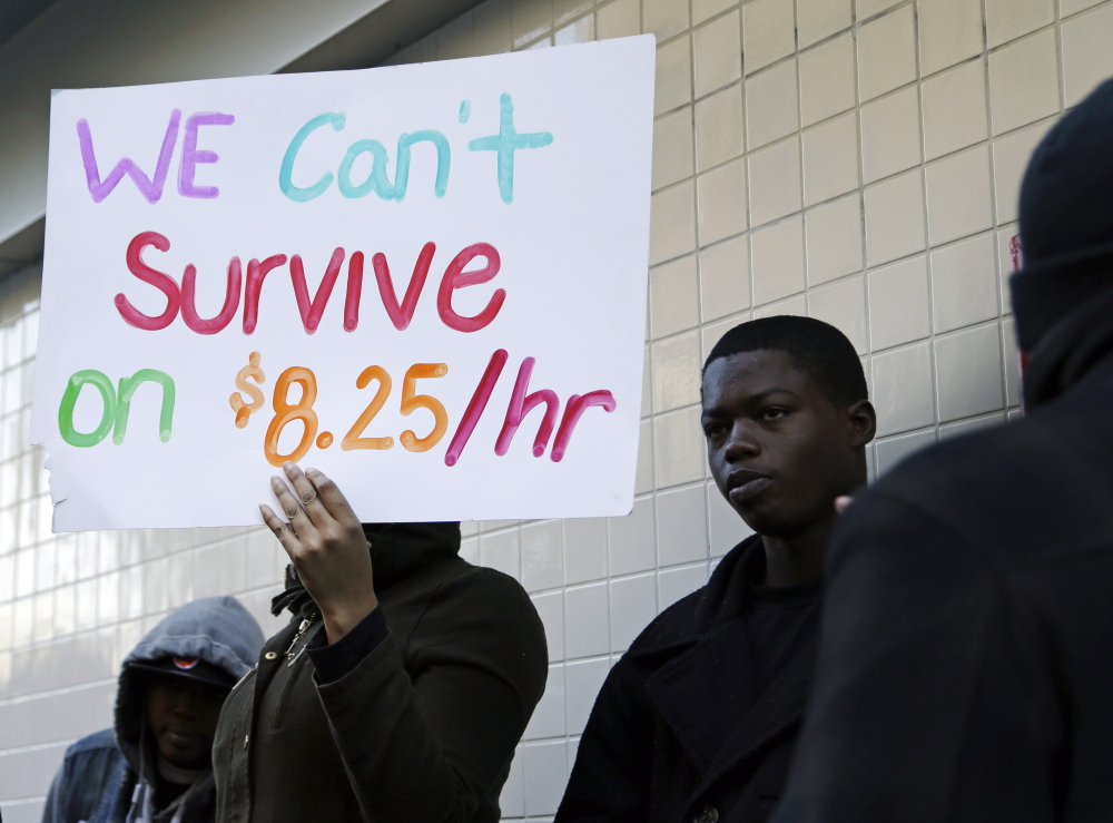 Demonstrators protest outside a McDonald's restaurant in Oakland, Calif., last December. Some Republicans, concerned about their party's failure to connect with working-class voters, are speaking out in support of raising the minimum wage.