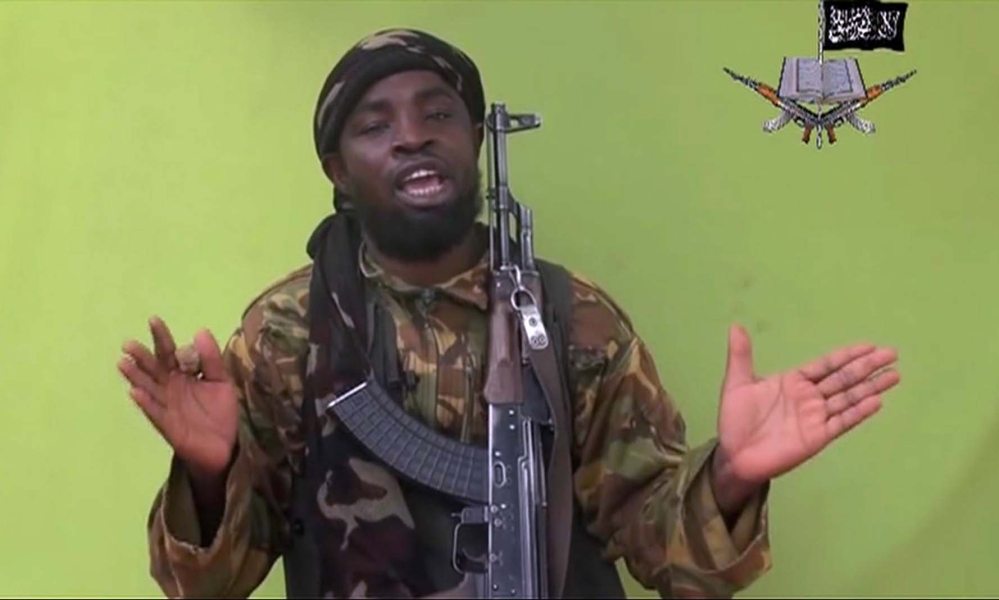 In this photo taken from video by Nigeria's Boko Haram terrorist network, Monday shows their leader Abubakar Shekau speaking to the camera.