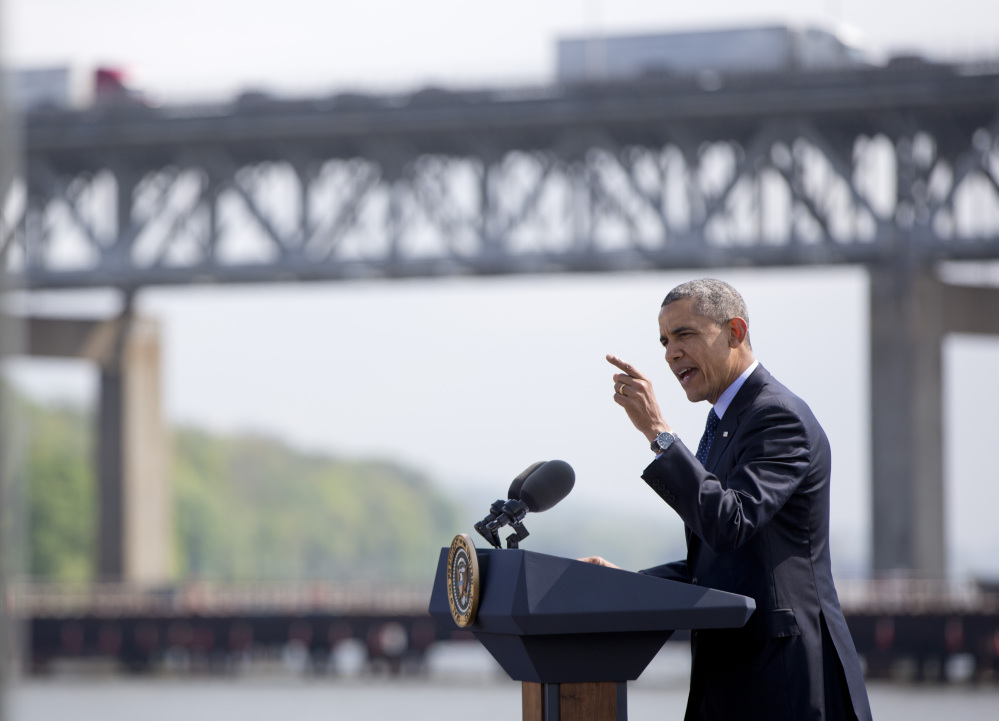 President Barack Obama speaks in Tarrytown, N.Y., near the Tappan Zee Bridge, Wednesday, May 14, 2014, about the need for a 21st Century Transportation Infrastructure.