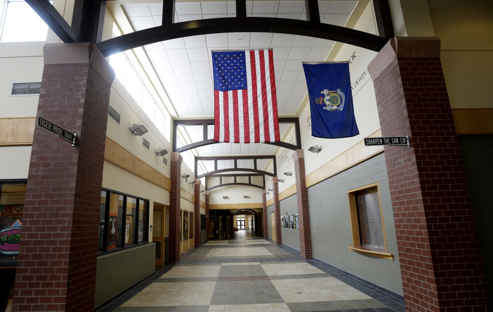 A hallway in Biddeford Middle School on Thursday May 15, 2014.