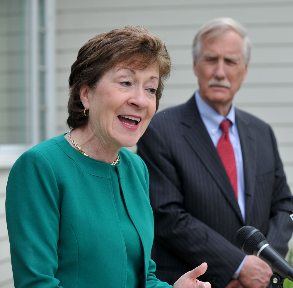 Sens. Susan Collins and Angus King stand outside the Margaret Chase Smith Library, where King endorsed Collins for re-election.
