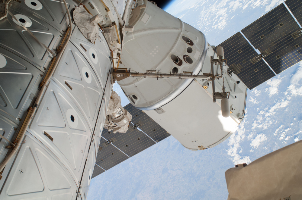 The Associated Press This April 22, 2014 file photo provided by NASA shows a photo of the SpaceX Dragon spacecraft docked to the International Space Station and was photographed by one of two spacewalking astronauts.