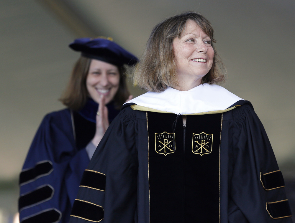 Jill Abramson, former executive editor of The New York Times, receives an honorary Doctor of Humane Letters degree during the commencement ceremony Monday at Wake Forest University.