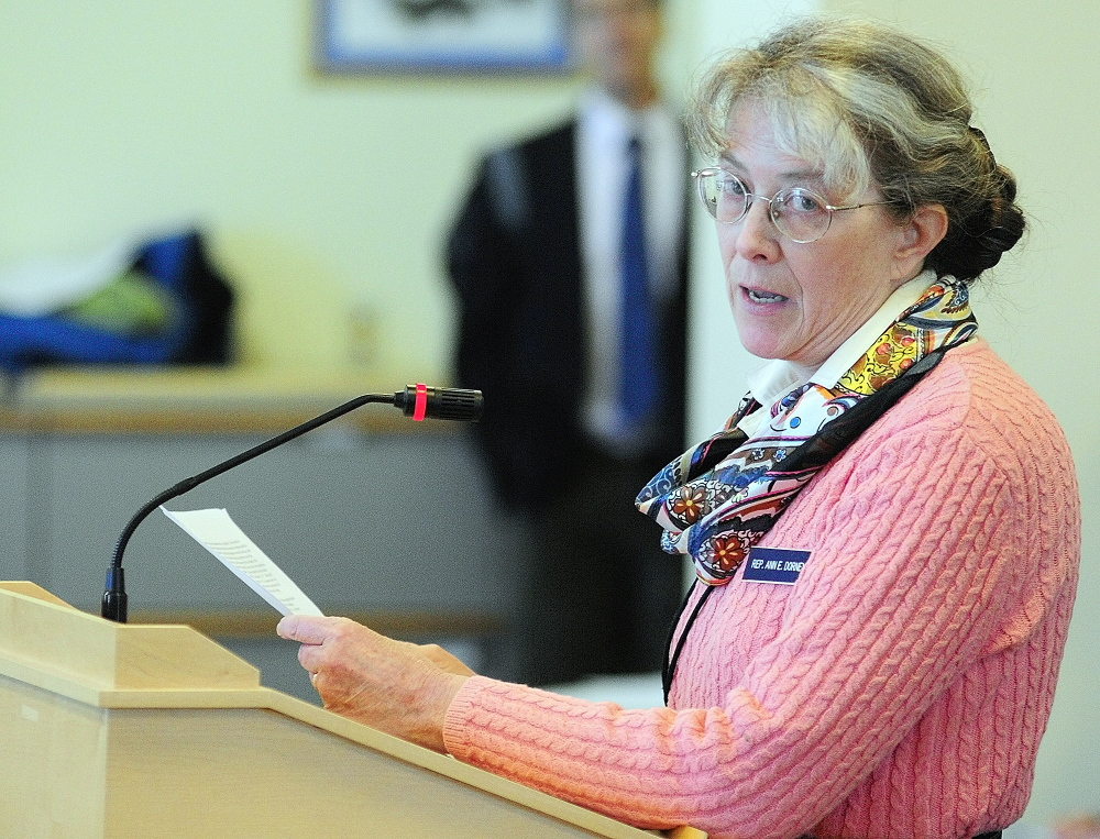 HARM REDUCTION HERO: Rep. Ann Dorney, D-Norridgewock, who is as a physician, talks about the uses of Narcan while testifying in favor of a bill allowing responders to carry it in February..