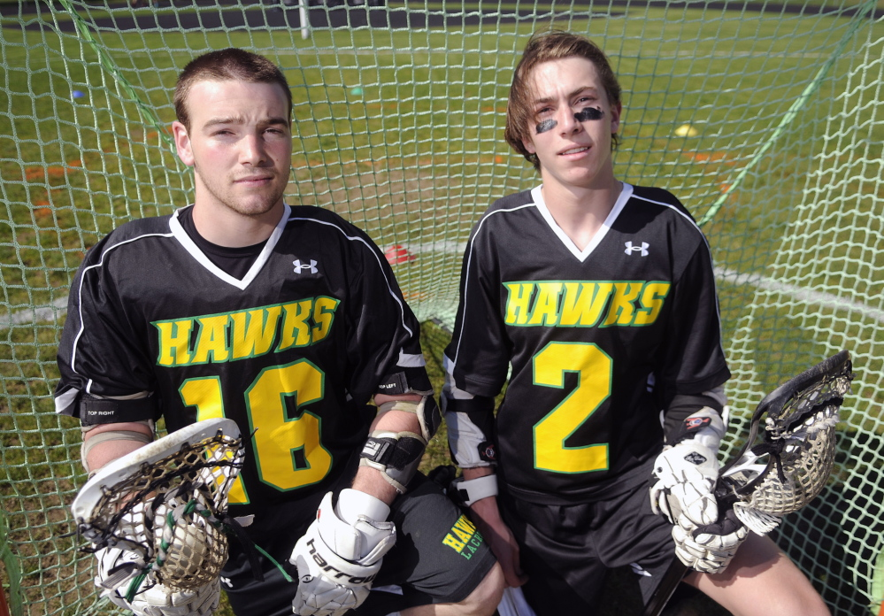 Staff photo by Andy Molloy DYNAMIC DUO: Maranacook/Winthrop's Zach Glazier, left, and Toby Smith are the leading scorers for the lacrosse team.