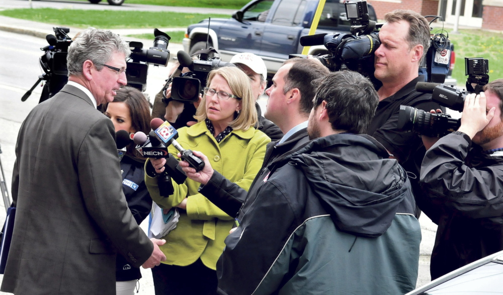Case explained: Deputy Attorney General Bill Stokes speaks to reporters following hearings at Skowhegan courthouse on charges against Kelli Murphy, 12, in the death of Brooklyn Foss-Greenaway in 2012.