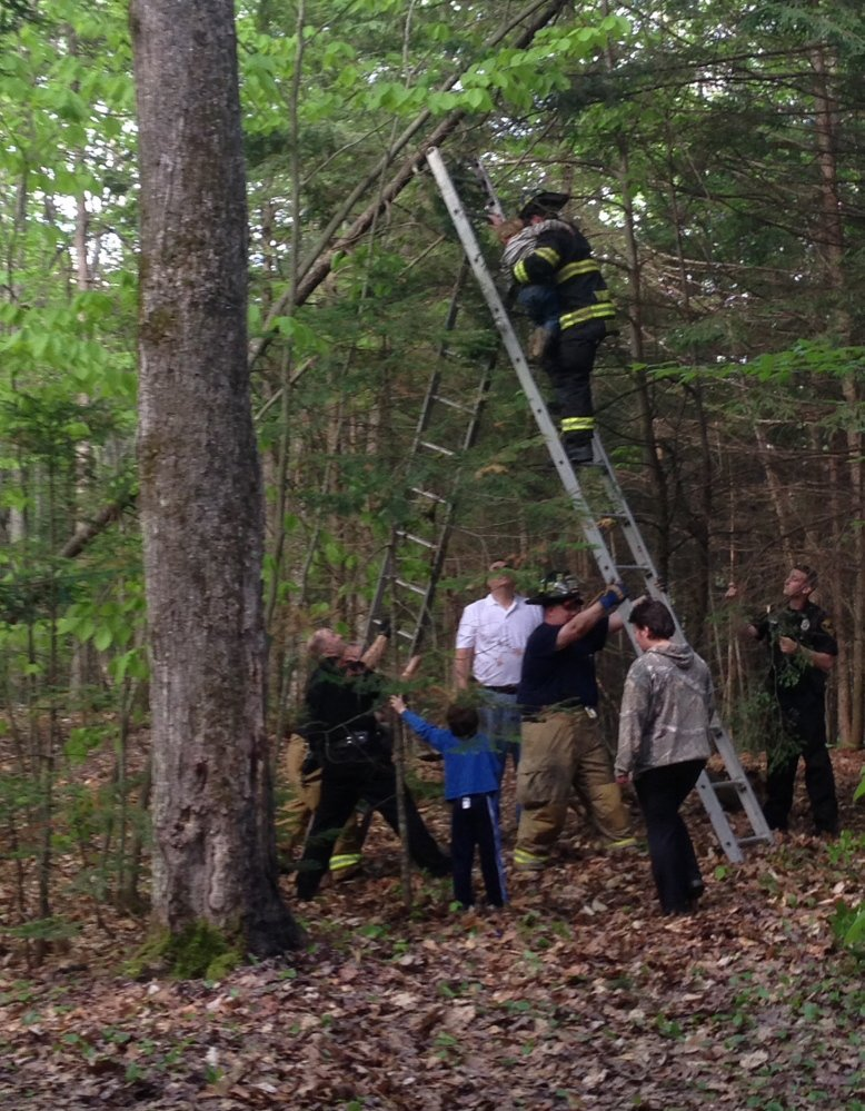 WHAT GOES UP: Winslow firefighters raise a ladder to help Richard Brewster, 5, down from a tree he had climbed Wednesday in a wooded area off China Road.