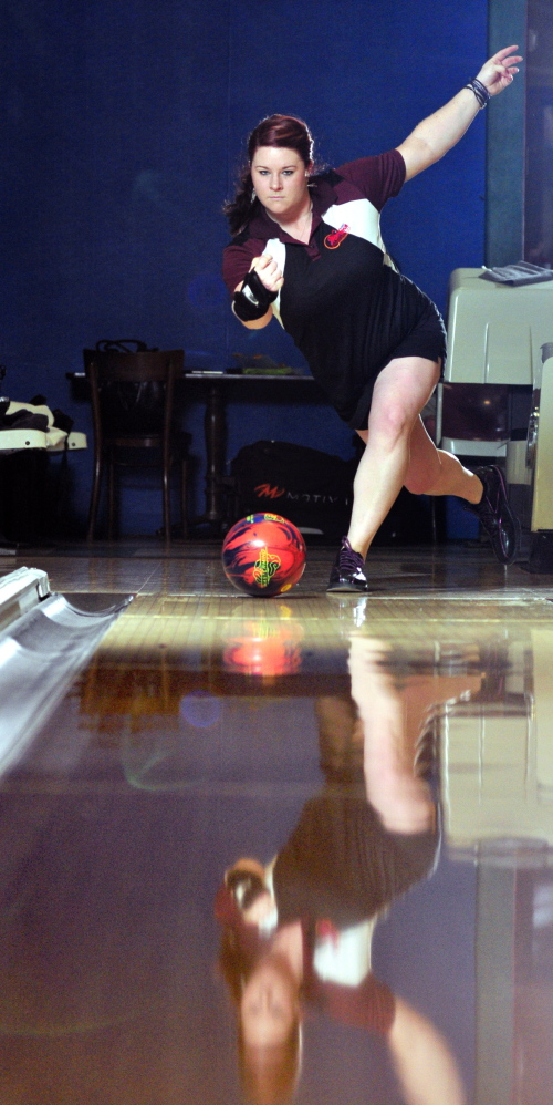 TOTAL FOCUS: Mallory Nutting throws a bowling ball recently at Sparetime Recreation in Hallowell. Nutting holds a 185 average.