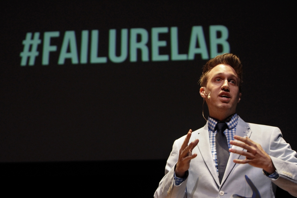 Jeff Barrett of Grand Rapids talks about how he overcame personal failures as part of the Failure:Lab series at Michigan State University in East Lansing, Mich. Failure is big in business, but can talking about it be big business? Four business guys in Michigan say if at first you don't succeed, put six so-called prominent influencers on a stage to talk about it for 10 minutes apiece and try to sell out the joint.