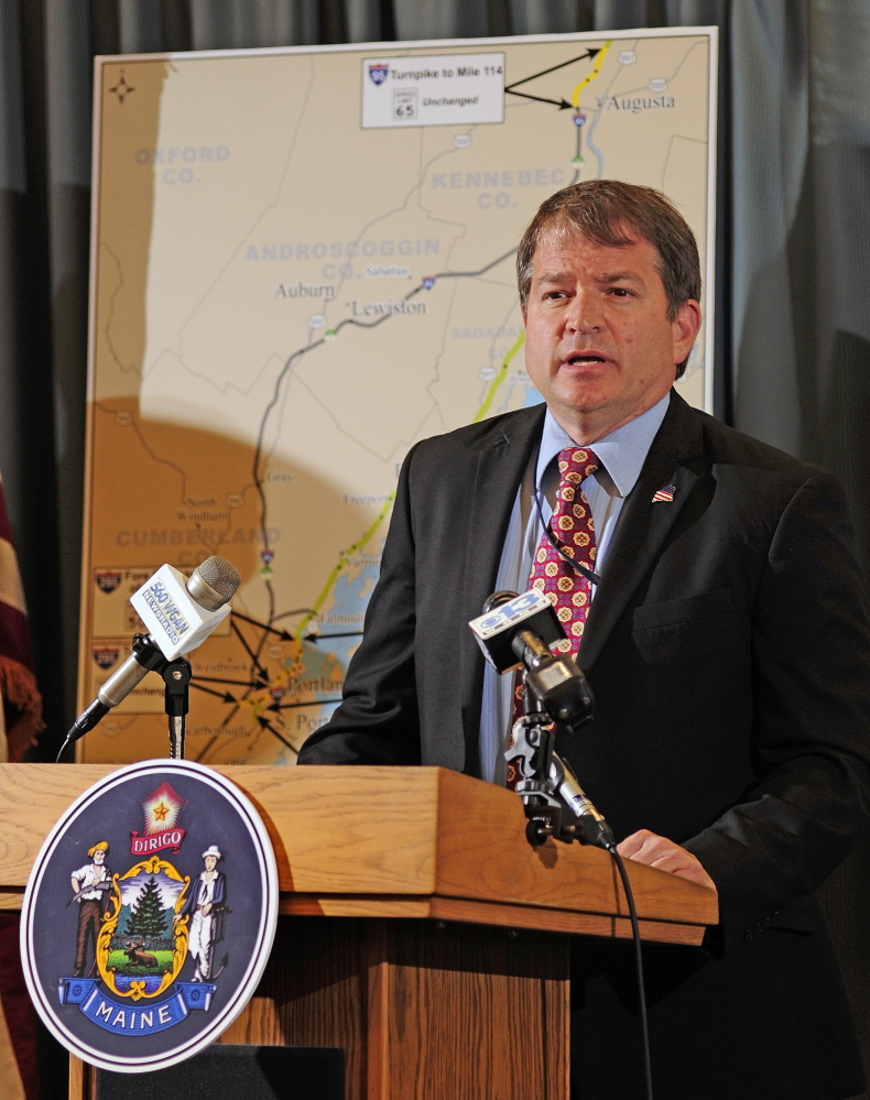 HIGHWAY: Department of Transportation Commissioner David Bernhardt talks about raising some highway speed limits during news conference on Tuesday May 27, 2014 in Augusta.