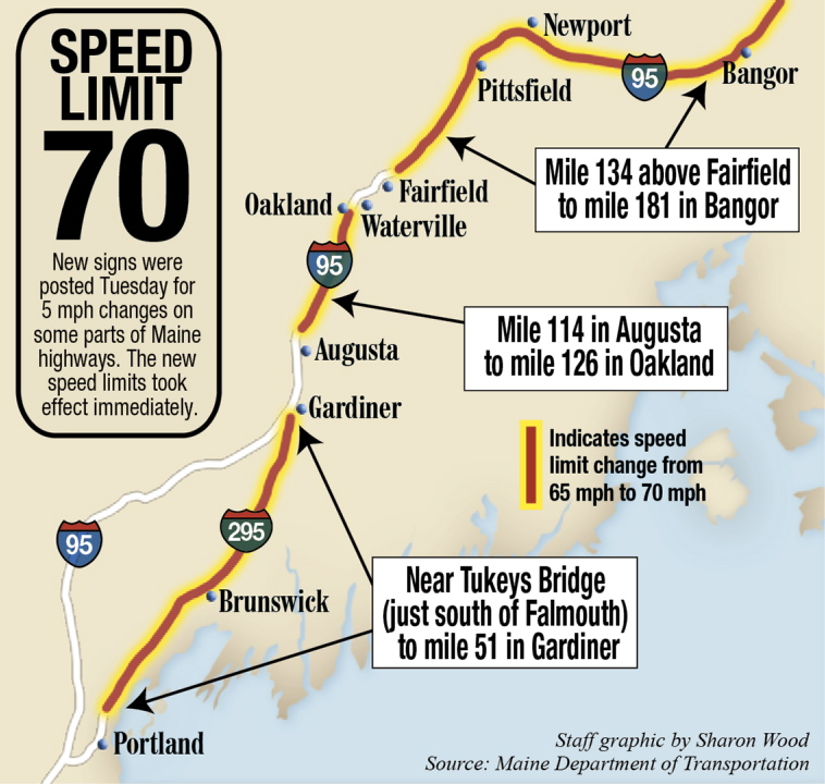 Interstate Speed Limits Increasing CentralMainecom - Us highway speed limits map