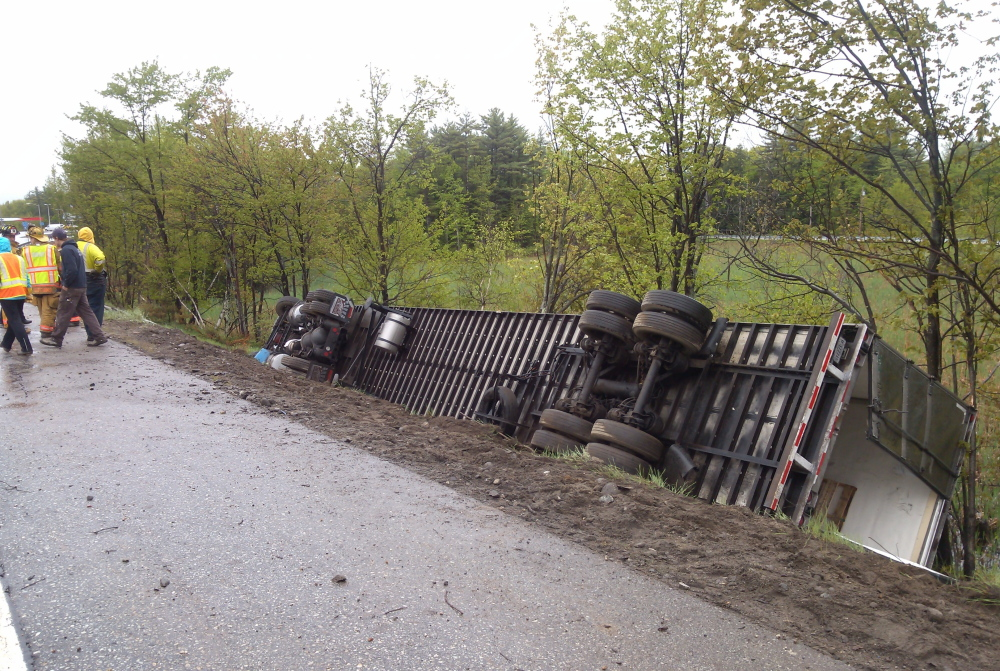 A truck rolled over on the Maine Turnpike on Wednesday morning between Gray and Falmouth.