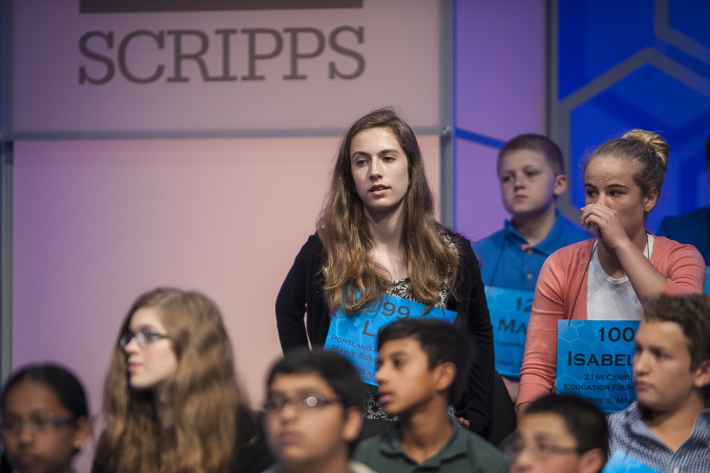 "Lucy Tumavicus, 14, of Portland participates in the preliminaries of the 87th Scripps National Spelling Bee on Wednesday in National Harbor, Md. Maine's representative at the nationals did not advance, but ""feels really good about what she did,"" said her mother, Megan Tumavicus of Portland."