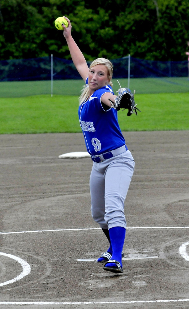 Staff photo by David Leaming Lawrence High School softball pitcher Julia Lawrence during a recent practice in Fairfield.