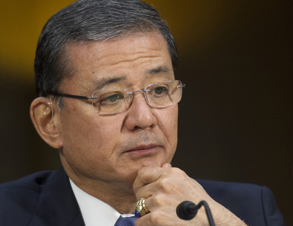 Veterans Affairs Secretary Eric Shinseki testifying on Capitol Hill in this May 15, 2014, photo. Dozens of Republicans, including the head of the House Veterans' Affairs Committee and House Majority Whip Kevin McCarthy, R-Calif., have called for Shinseki to leave.